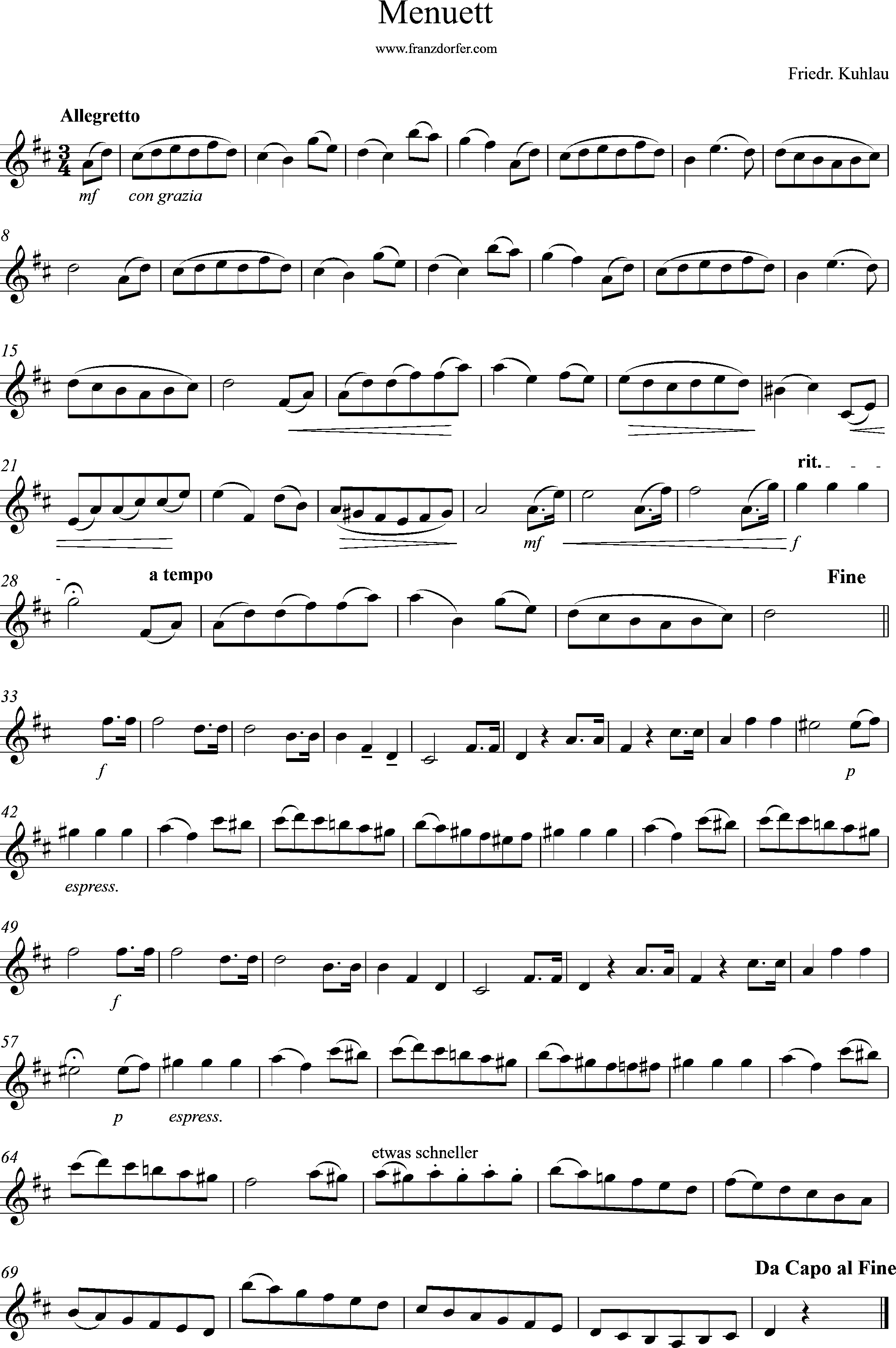 Solopart, Menuett- Kuhlau, D-Major